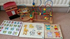 Lot of wooden toys and puzzles