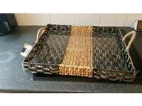 brand new glass and wicker tray