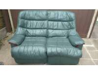 Green leather 2-seater