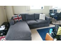 Long Island corner sofa blue/grey feather filled 1 year old RRP £3,690, brushed linen cotton