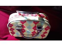 Travel Toiletry Make Up Cosmetic Fabric and Lined handbag - never used!