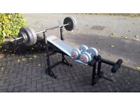 YORK BENCH WITH 50KG WEIGHTS & BARS