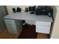 Grey desk in good condition with keys