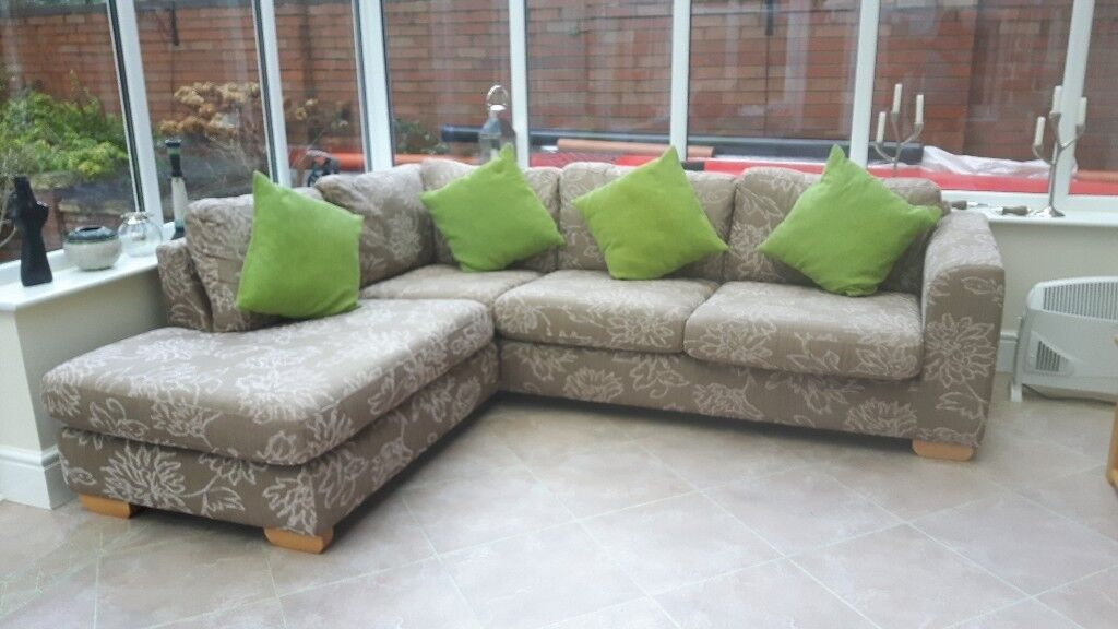 john lewis l shaped corner large beige floral sofa and footstool in dorridge west midlands