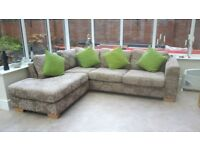 John Lewis L Shaped corner large beige floral sofa and footstool