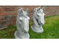 Pair stone horses heads