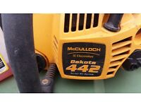 mcculloch 442 petrol 2 stroke chainsaw, used about 5 or 6 times works perfectly needs a clean!