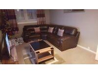 Brown leather corner dfs sofa
