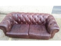 1 x Brown Chesterfield DFS tetrak Soft Real Leather Sofa