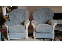 Pair of armchairs. Pale blue.