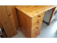 Solid pine desk with three large drawers large size