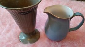 Wedgewood vase and Denby Jug 20th century collectable