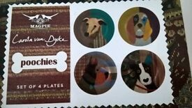 BOXED SET MAGPIE plates for DOG lovers brand new