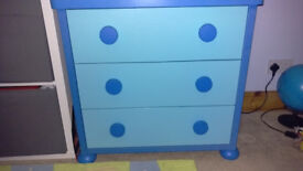 ikea mammut blue bookcase chest of drawers and bedside table