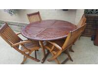 B&Q garden furniture folding table and 4 chairs