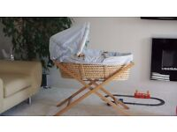 Mamas & Papas Moses Basket with Stand with two mattresses, one of them brand New £30