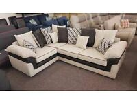 Designer Fabric Corner Sofa With Scatter Back Cushions