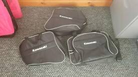 Kawasaki genuine pannier bags. Luggage. As new, not used.