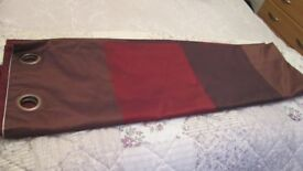 2 pairs of red & brown striped silk effect eyelet curtains from Next size 53 inches x 90 inches