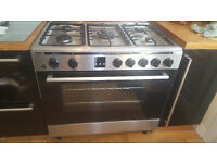 Bush AGE96 RS Gas range hob and electric fan oven-Stainless Steel