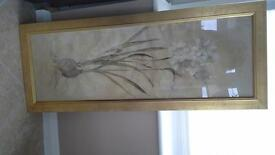 large gold frame floral picture
