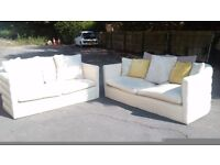 Superb set of a 2-seater and a 3-seater cream leather sofas