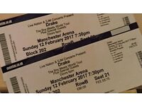 2 DRAKE TICKETS, MANCHESTER 12/02/2017