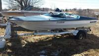 Vintage Blue speed boat with trailer