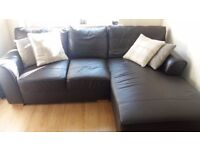 Two dark chocolate leather sofas kne with chaise lounge