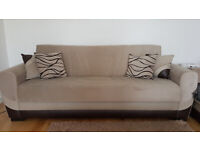 2 Sofa Beds with 8 cushions and plenty of storage