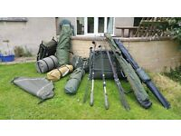 Very Large Fishing Collection of Premium Equipment. Bed Chairs, Bivvy Sonik Rod FOX MAVER SABER