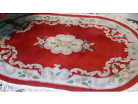 Chinese Red Wool Floral Rug