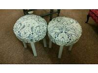 CONTEMPORARY SAPPHIRE BLUE AND GREY COLOURS SMALL STOOL