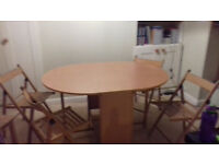 ARGOS HOME BUTTERFLY EXTENDABLE OVAL TABLE + 4 FOLDING CHAIRS