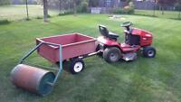 Toro Riding Mower, Dump Trailer and Adaptable Lawn Roller