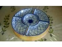 Turkish meze dishes on revolving base