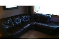 Large leather brown corner sofa