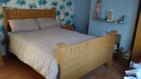 Solid Oak King Size Bed frame and mattress.