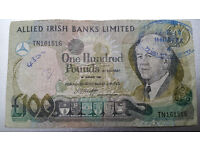 Allied Irish Banks Limited £100 One Hundred Pound Banknote 1982 Very Rare
