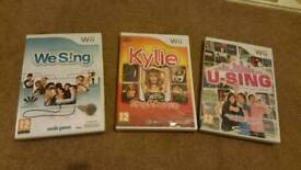 Wii sing games (including Kylie which is new and wrapped)