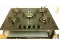 Five ring gas hob with fan assisted electric oven