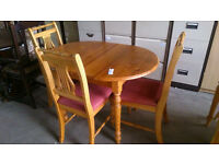 Pine table with 3 chairs