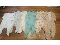 Baby Girl Sleepsuits x6 in 3-6 months