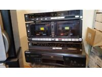 Technic Amp, Twin Cassette Player,Stero Tuner. Sony Compact Disc Player and 2 Technic Speakers