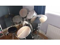 Full size Drum Kit. Inc sticks, stool & quiet skins. Black. Excellent condition