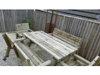 Solid wooden outdoor Dining set and Gazzebo