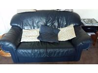 2 x 2 seater leather settees navy