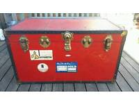 Red travel trunk