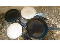 4x pans from bigger to smaller ( ikea, tefal, Russell hobbs)