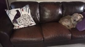 Brown leather 3seater sofa matching foot stool